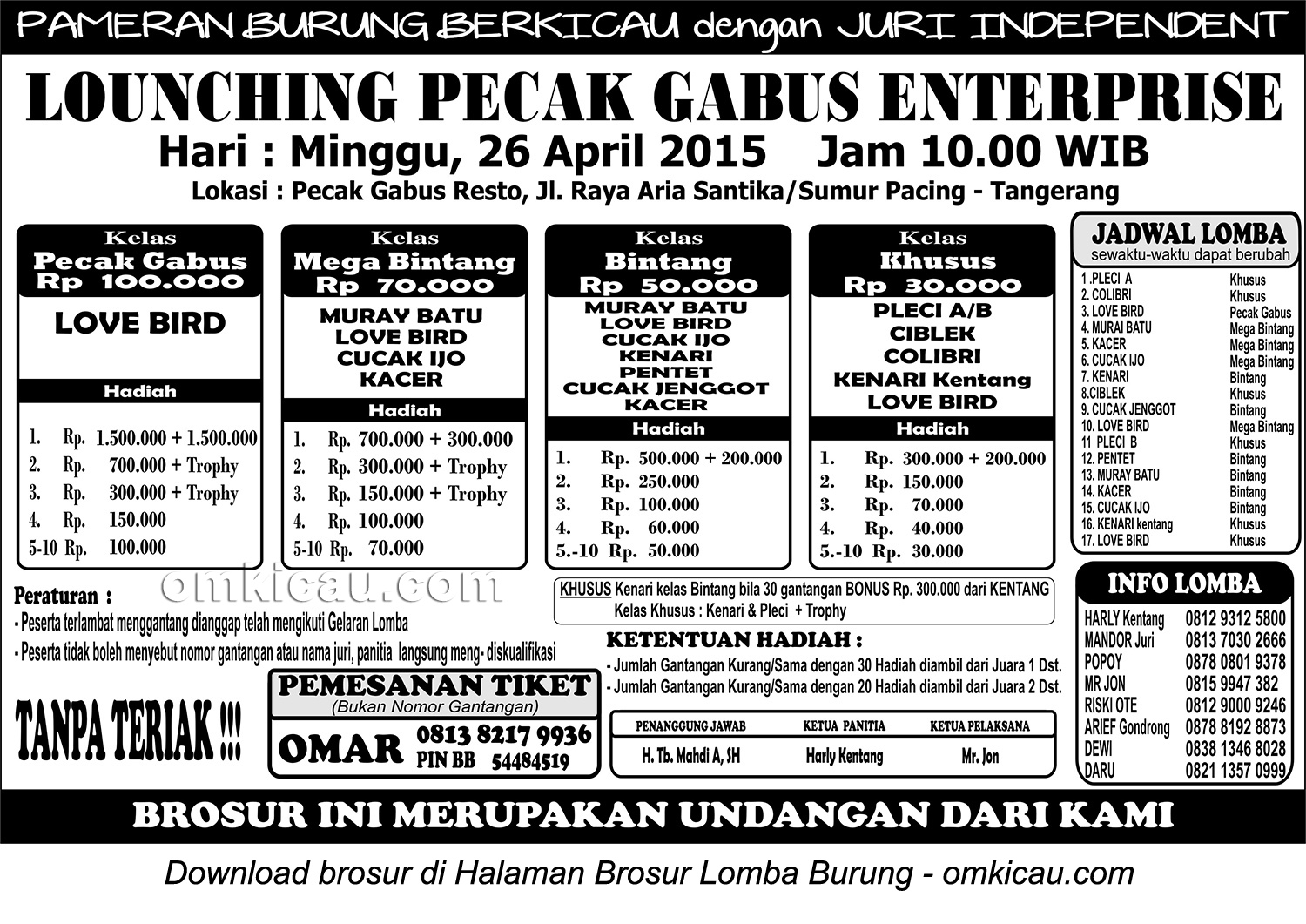 Brosur Launching Pecak Gabus Enterprise Tangerang, 26 April 2015