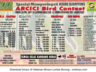 Brosur Lomba Burung Berkicau Arcici Spesial Kartini, Jakarta, 26 April 2015