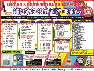 Brosur Lomba Burung Berkicau Bird Song Community, Cikarang, 2 Mei 2015