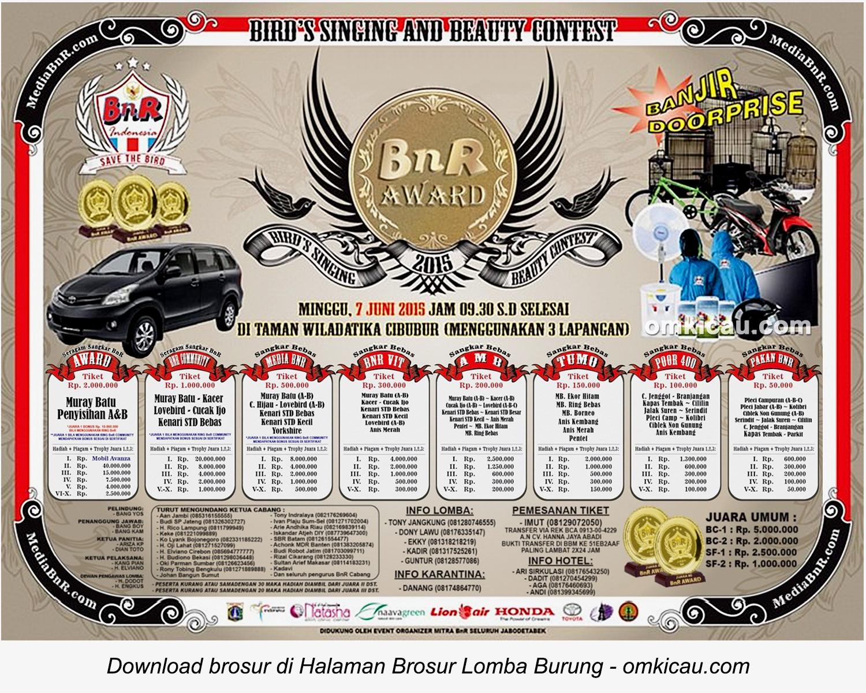 Brosur Lomba Burung Berkicau BnR Award, Jakarta, 7 Juni 2015