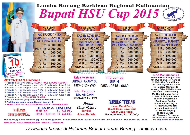 Brosur Lomba Burung Berkicau Bupati HSU Cup, Amuntai, 10 Mei 2015