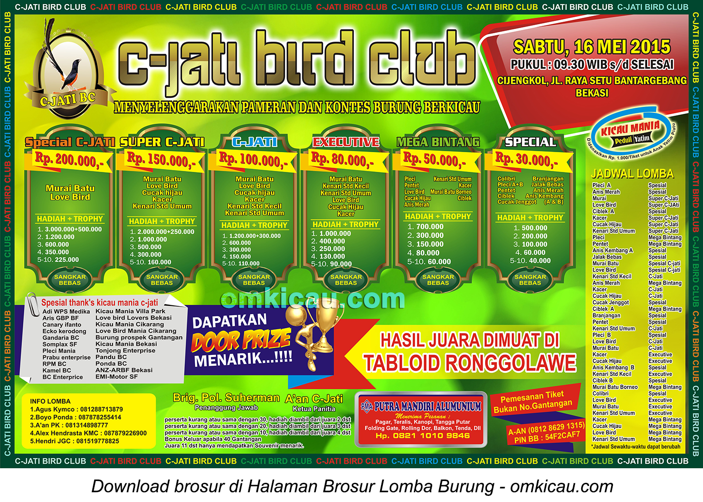 Brosur Lomba Burung Berkicau C-Jati Bird Club, Bekasi, 16 Mei 2015
