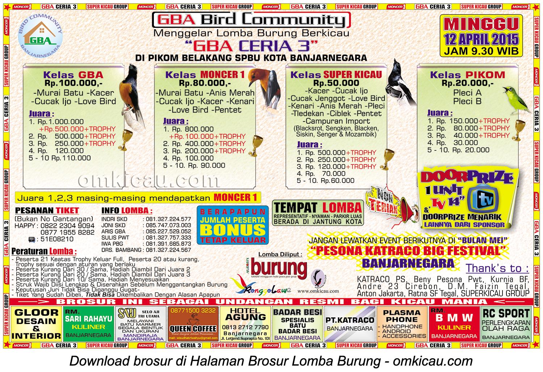 Brosur Lomba Burung Berkicau GBA Ceria 3, Banjarnegara, 12 April 2015