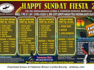 Brosur Lomba Burung Berkicau Happy Sunday Fiesta PBI DKI Jakarta, 10 Mei 2015