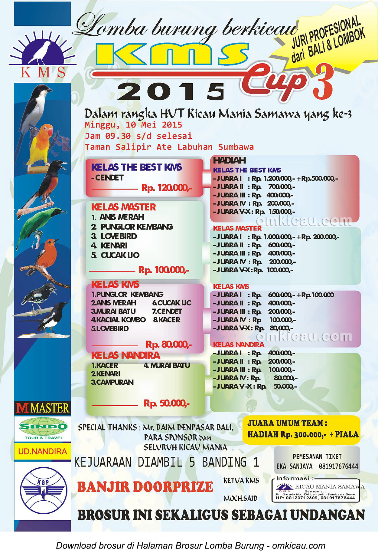 Brosur Lomba Burung Berkicau KMS Cup 3, Sumbawa, 10 Mei 2015