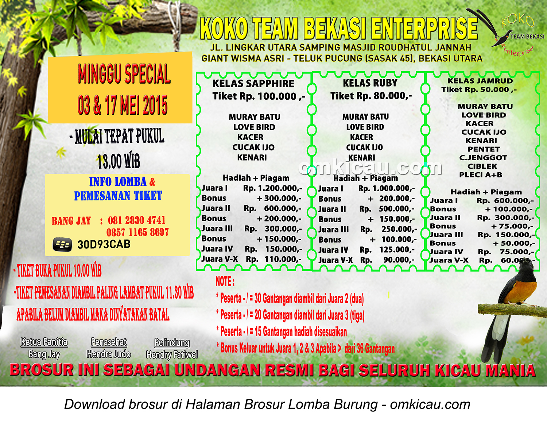 Brosur Lomba Burung Berkicau Koko Team Bekasi, 3 & 17 Mei 2015