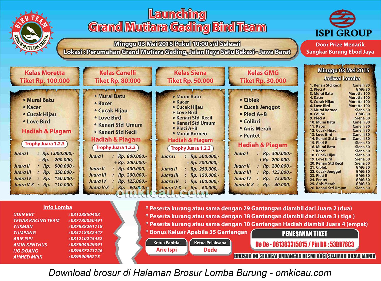Brosur Lomba Burung Berkicau Launching GMG Bird Team, Bekasi, 3 Mei 2015