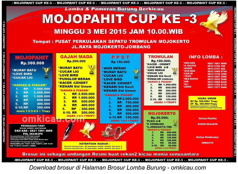 Brosur Lomba Burung Berkicau Mojopahit Cup Ke-3, Mojokerto, 3 Mei 2015