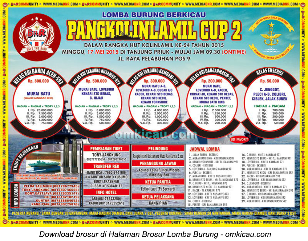 Brosur Lomba Burung Berkicau Pangkolinlamil Cup 2, Jakarta, 17 Mei 2015