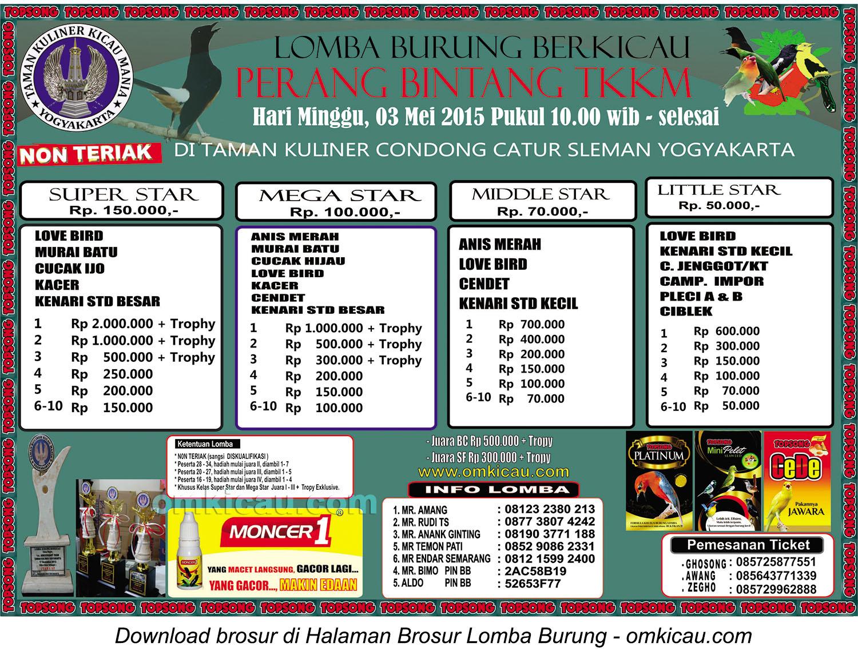 Brosur Lomba Burung Berkicau Perang Bintang TKKM, Jogja, 3 Mei 2015