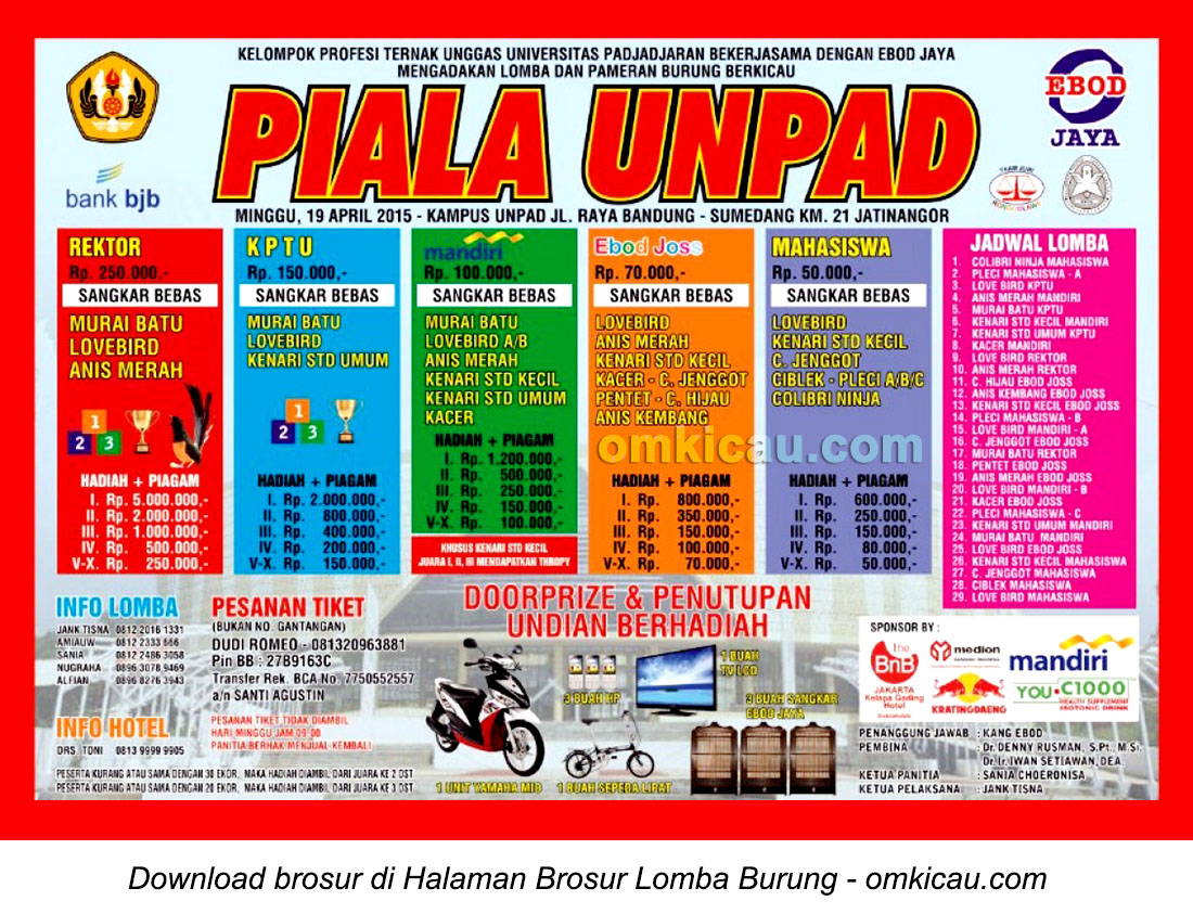 Brosur Lomba Burung Berkicau Piala Unpad, Bandung, 19 April 2015