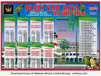 Brosur Lomba Burung Berkicau Pleci Van Java Nation, Bandung, 31 Mei 2015
