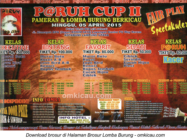 Brosur Lomba Burung Berkicau P@ruh Cup II, Lampung Utara, 5 April 2015
