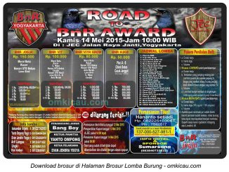 Brosur Lomba Burung Berkicau Road to BnR Award, Jogja, 14 Mei 2015