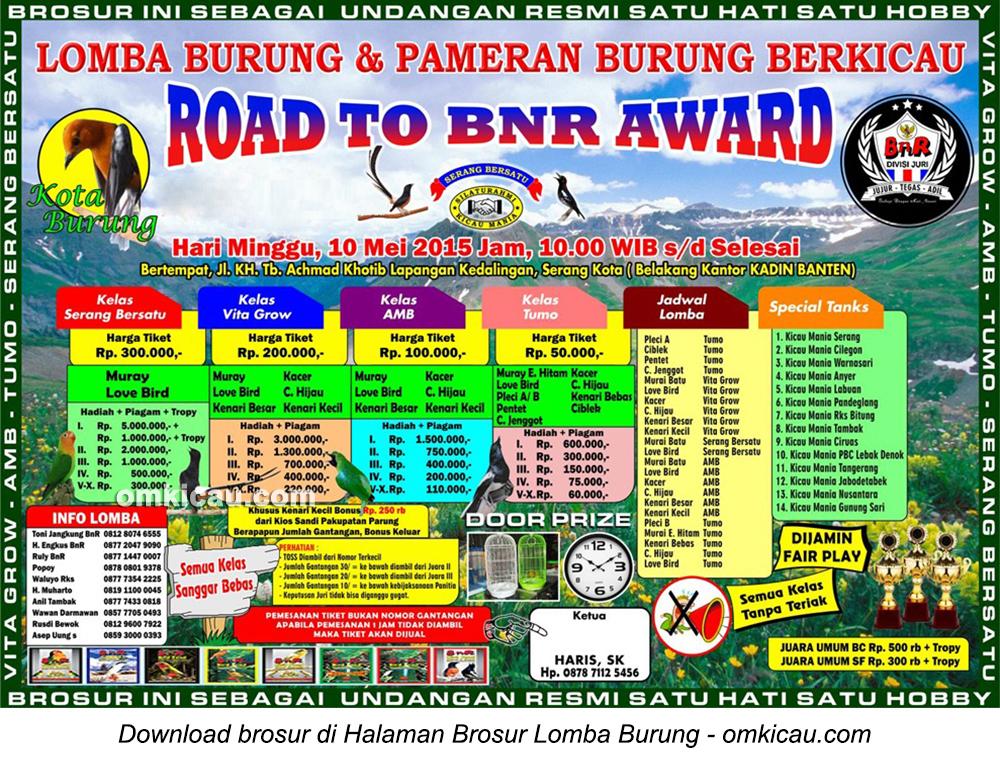 Brosur Lomba Burung Berkicau Road to BnR Award, Serang, 10 Mei 2015