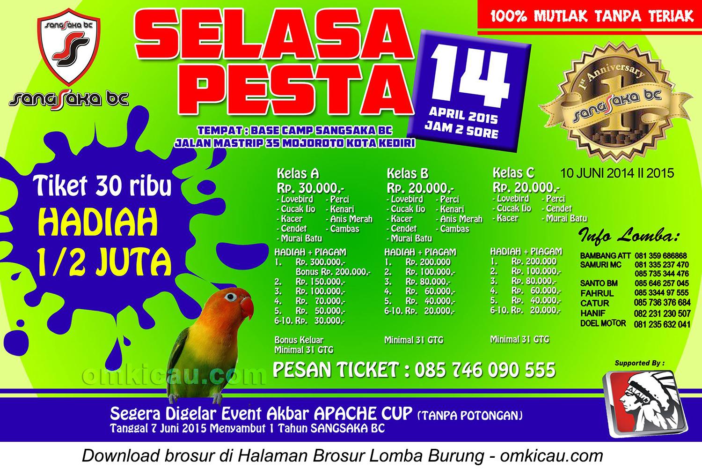 Brosur Lomba Burung Berkicau Selasa Pesta SangSaka BC, Kediri, 14 April 2015