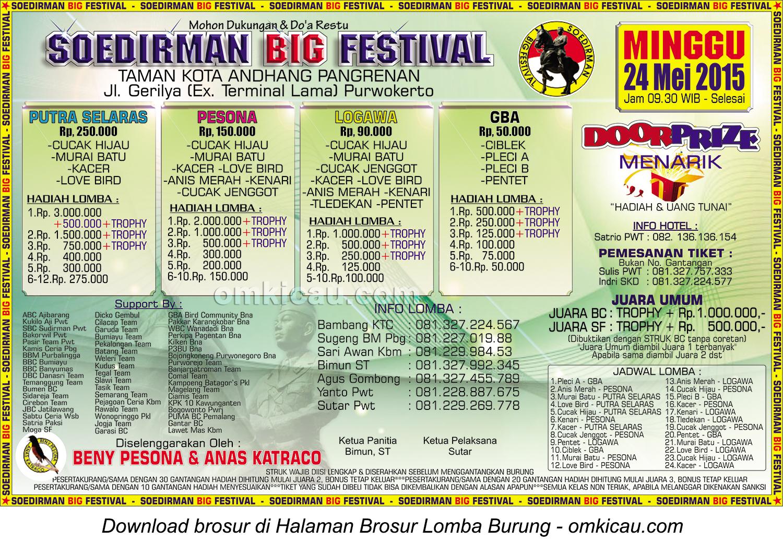 Brosur Lomba Burung Berkicau Soedirman Big Festival, Purwokerto, 24 Mei 2015