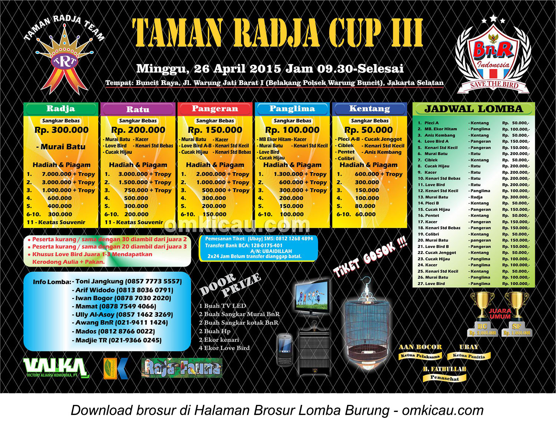 Brosur Lomba Burung Berkicau Taman Radja Cup III, Jakarta Selatan, 26 April 2015