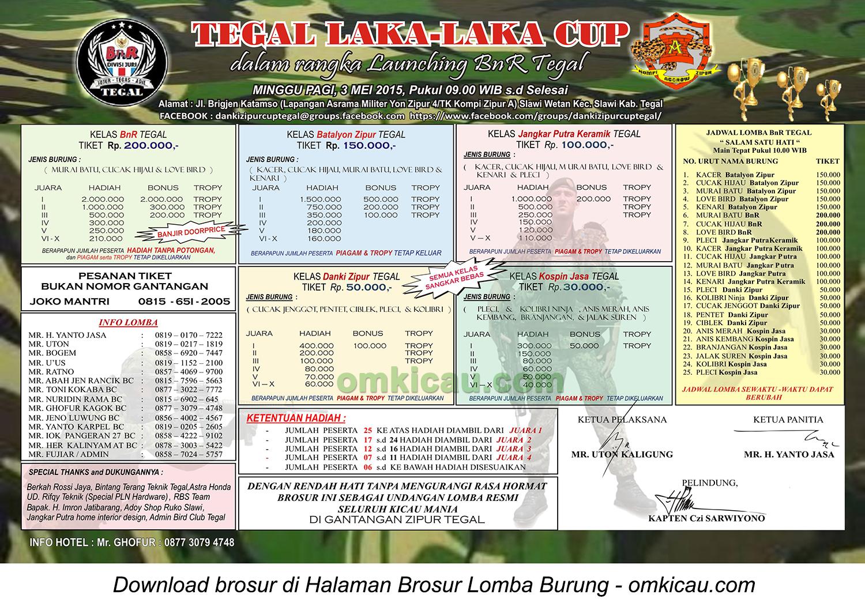 Brosur Lomba Burung Berkicau Tegal Laka-Laka Cup, 3 Mei 2015