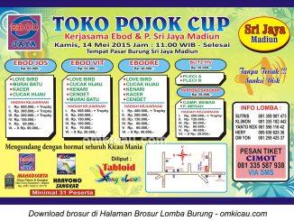 Brosur Lomba Burung Berkicau Toko Pojok Cup, Madiun, 14 Mei 2015