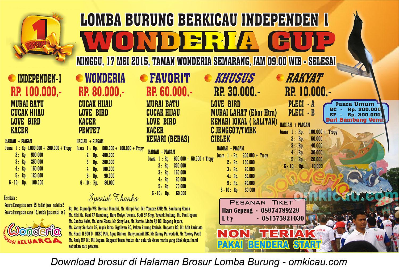 Brosur Lomba Burung Berkicau Wonderia Cup, Semarang, 17 Mei 2015