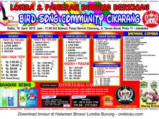 Brosur Lomba Burung Bird Song Community Cikarang, 18 April 2015
