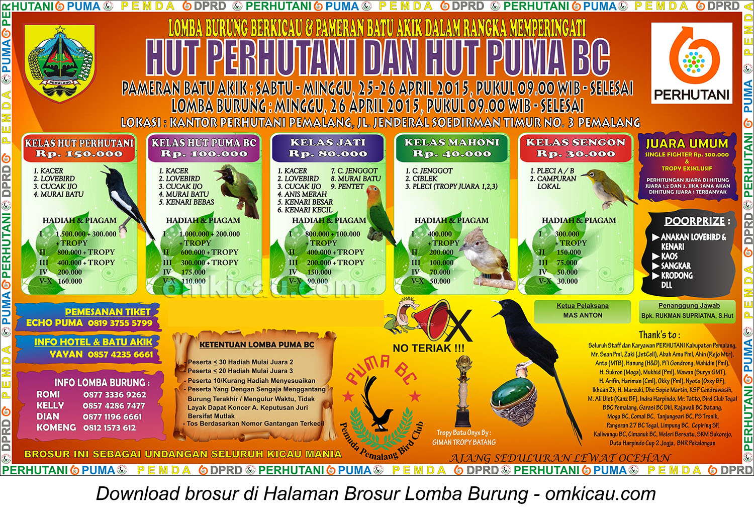 Brosur Lomba Burung HUT Perhutani - HUT Puma BC, Pemalang, 26 April 2015