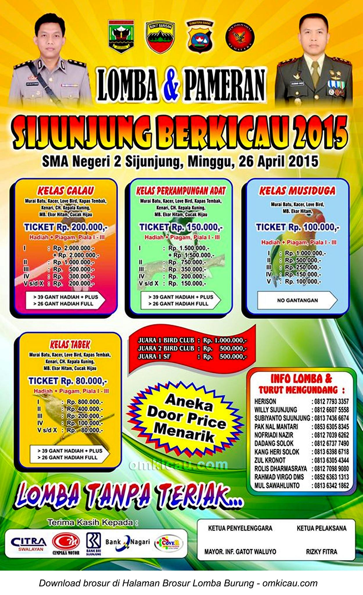 Brosur Lomba Burung Sijunjung Berkicau, 26 April 2015