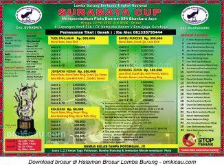 Brosur revisi Lomba Burung Berkicau Surabaya Cup, 10 Mei 2015