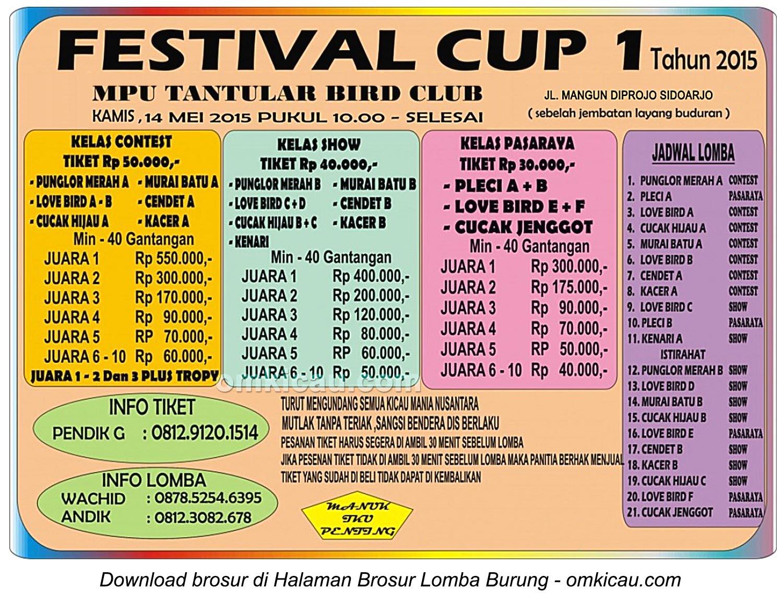 Brosur Festival Cup 1 Mpu Tantular BC, Sidoarjo, 14 Mei 2015