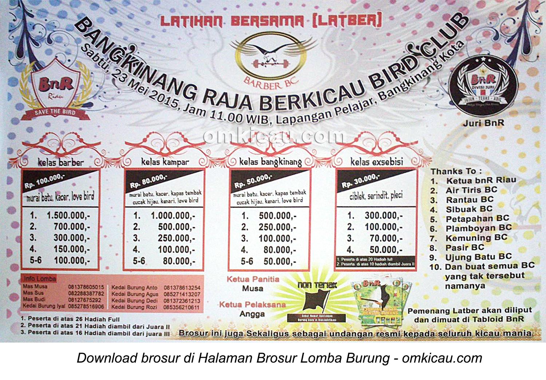 Brosur Latber Bangkinang Raja Berkicau BC, Kampar-Riau, 23 Mei 2015