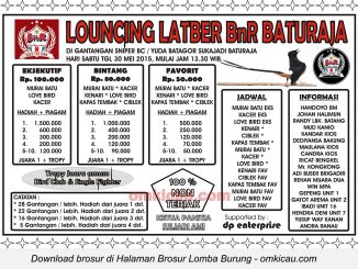 Brosur Latber Burung Berkicau Launching BnR Baturaja, 30 Mei 2015