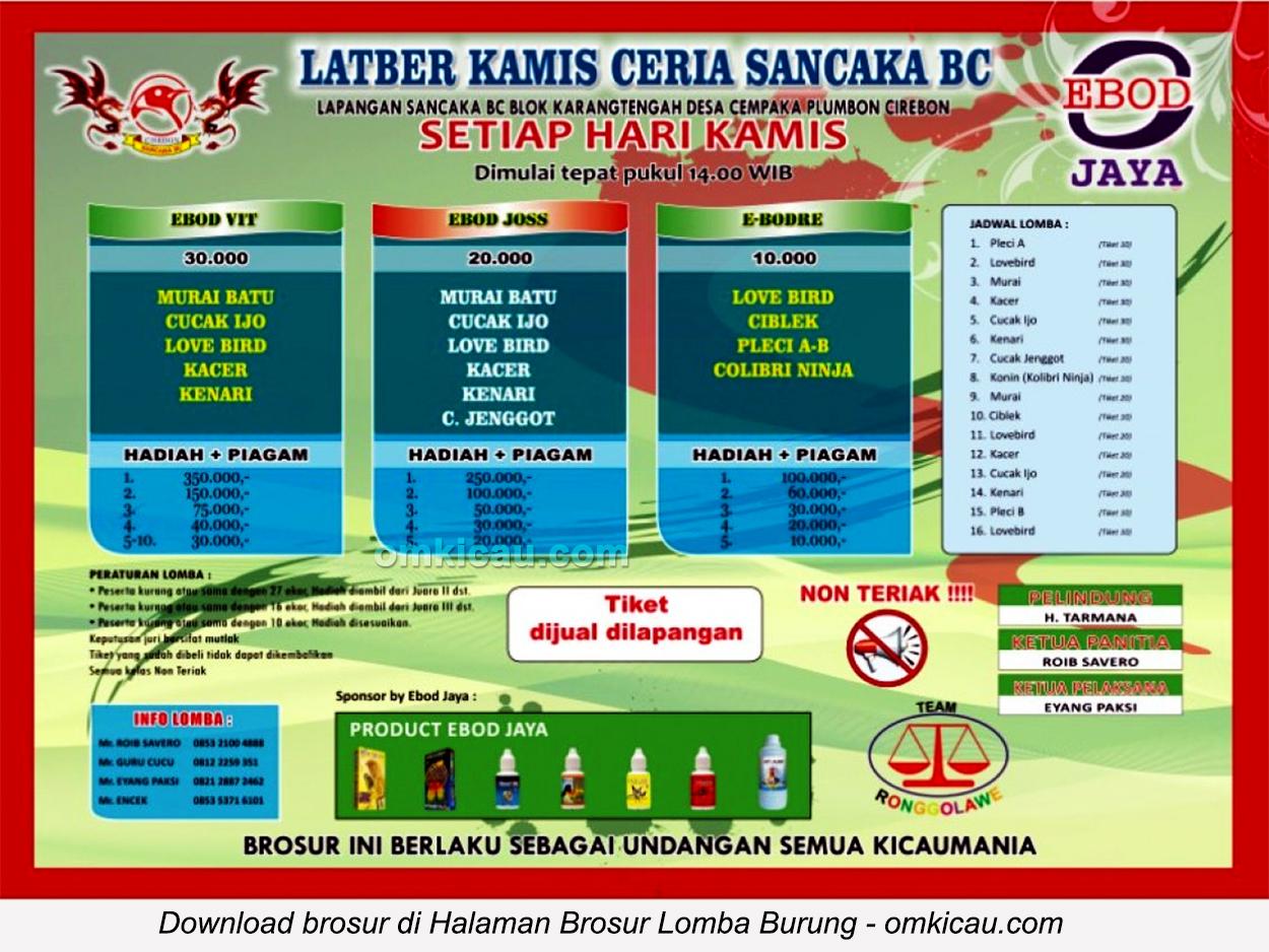 Brosur Latber Kamis Ceria Sancaka BC Cirebon, setiap Kamis jam 2 siang