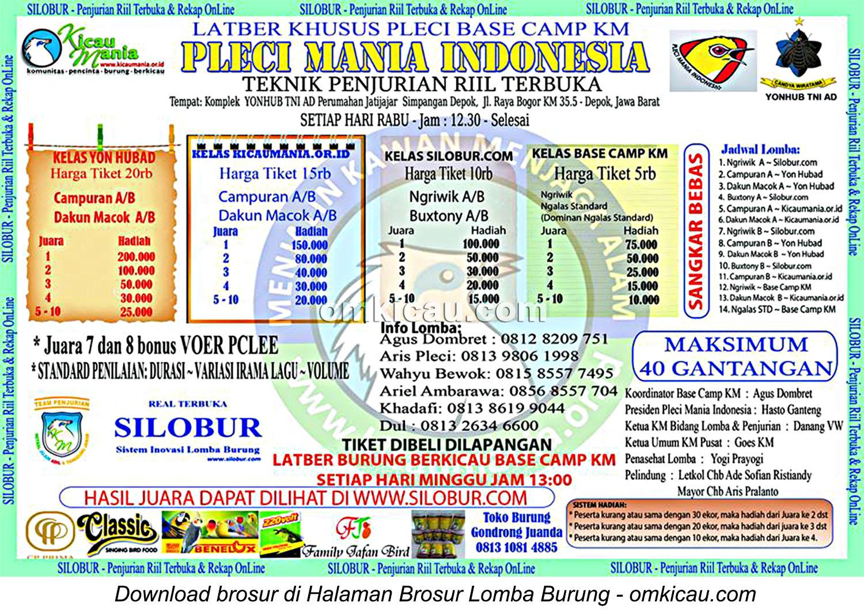 Brosur Latber Khusus Pleci Base Camp KM, Depok, setiap Rabu jam 12-30