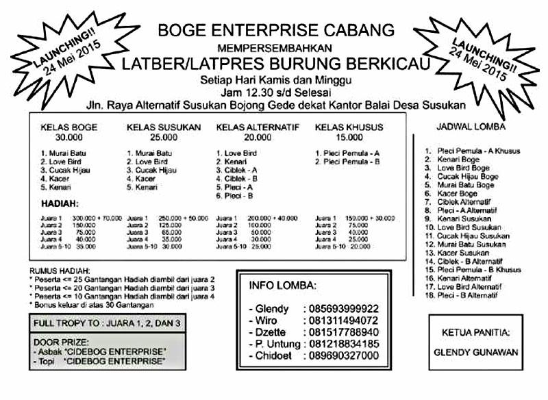 Brosur Latber-Latpres Boge Enterprise Bogor, setiap Kamis dan Minggu siang
