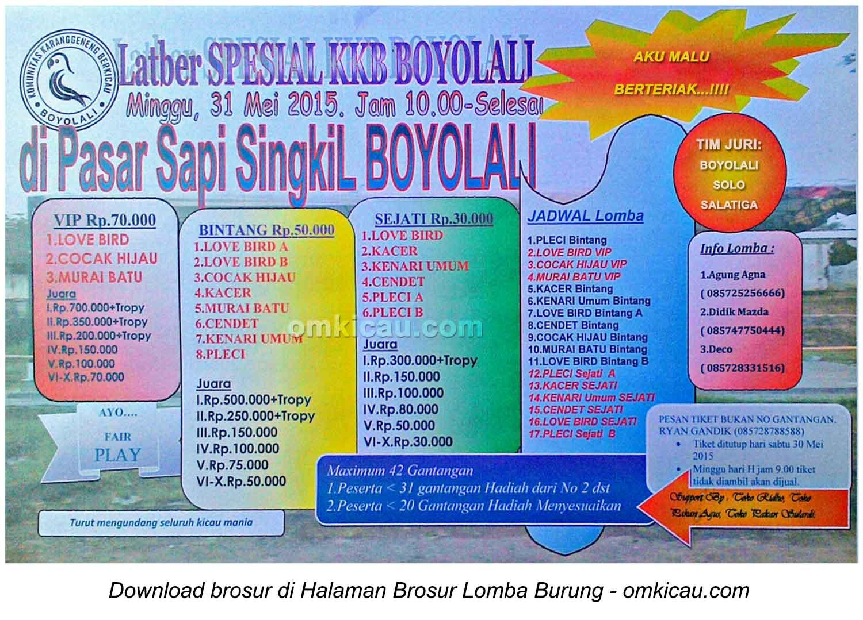 Brosur Latber Special KKB Boyolali, 31 Mei 2015
