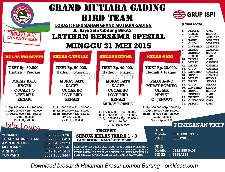 Brosur Latber Spesial Grand Mutiara Gading Bird Team, Bekasi, 31 Mei 2015