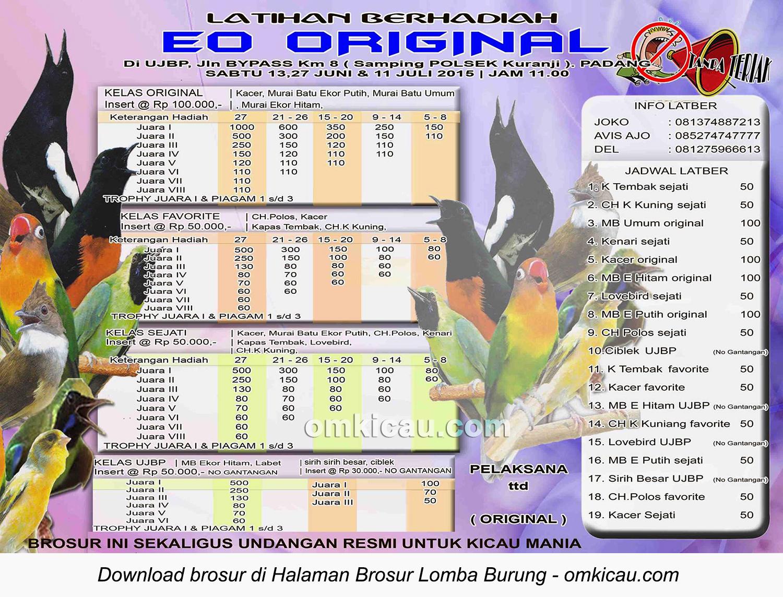 Brosur Latihan Berhadiah EO Original, Padang, 13-27Juni-11Juli 2015
