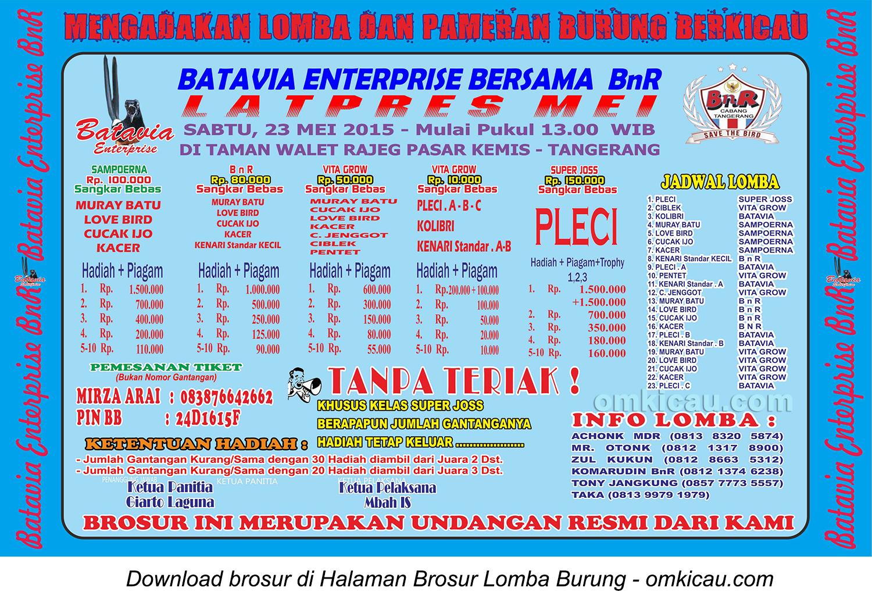 Brosur Latpres Batavia Enterprise, Tangerang, 23 Mei 2015