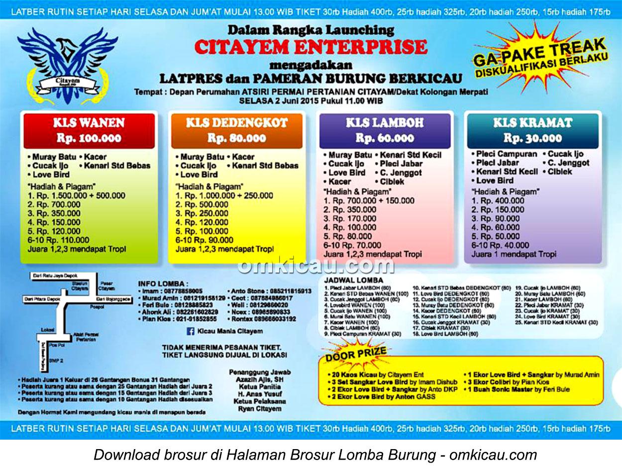 Brosur Latpres Burung Berkicau Launching Citayem Enterprise, Depok, 2 Juni 2015