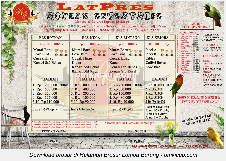 Brosur Latpres Burung Berkicau Royhan Enterprise, Jakarta Selatan, 2 Juni 2015