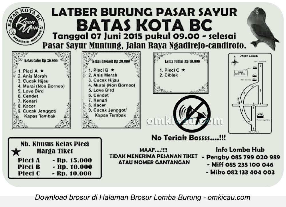 Brosur Latpres Burung Pasar Sayur Batas Kota BC, Temanggung, 7 Juni 2015