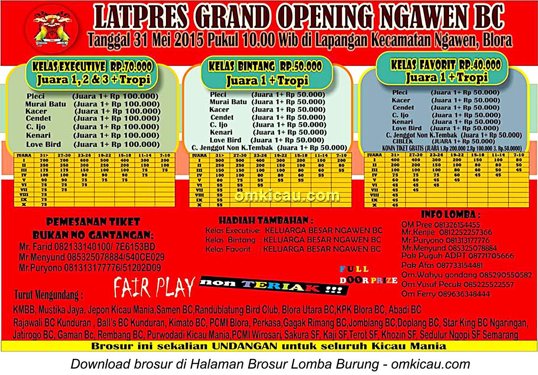 Brosur Latpres Grand Opening Ngawen BC, Blora, 31 Mei 2015
