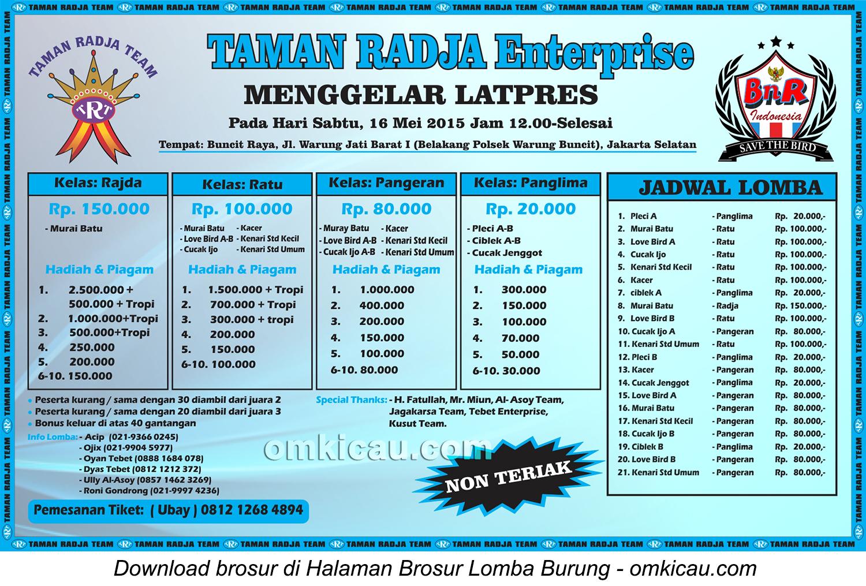 Brosur Latpres Taman Radja Team, Jakarta Selatan, 16 Mei 2015