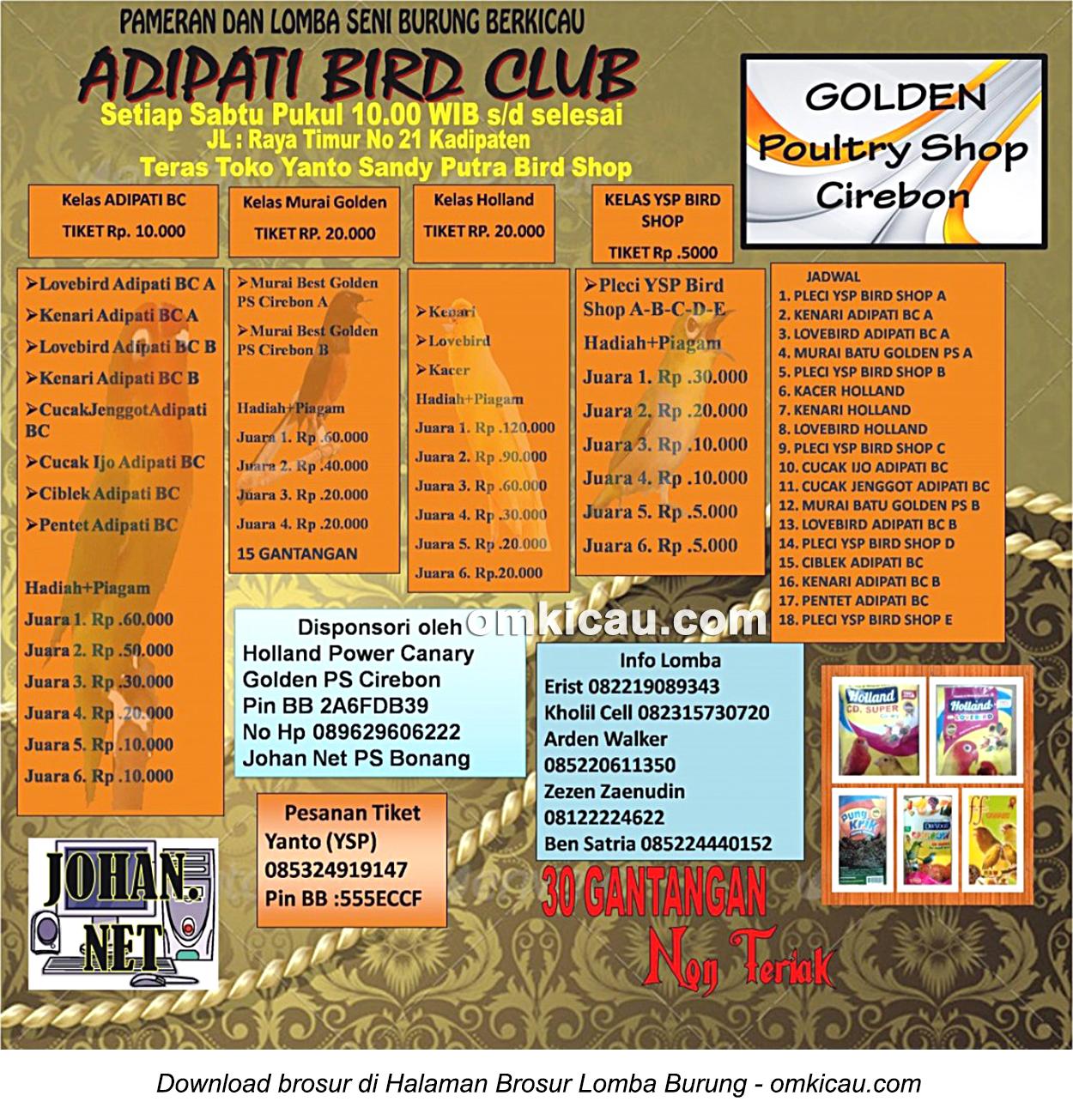 Brosur lomba Adipati BC Kadipaten, Cirebon, setiap Sabtu jam 10