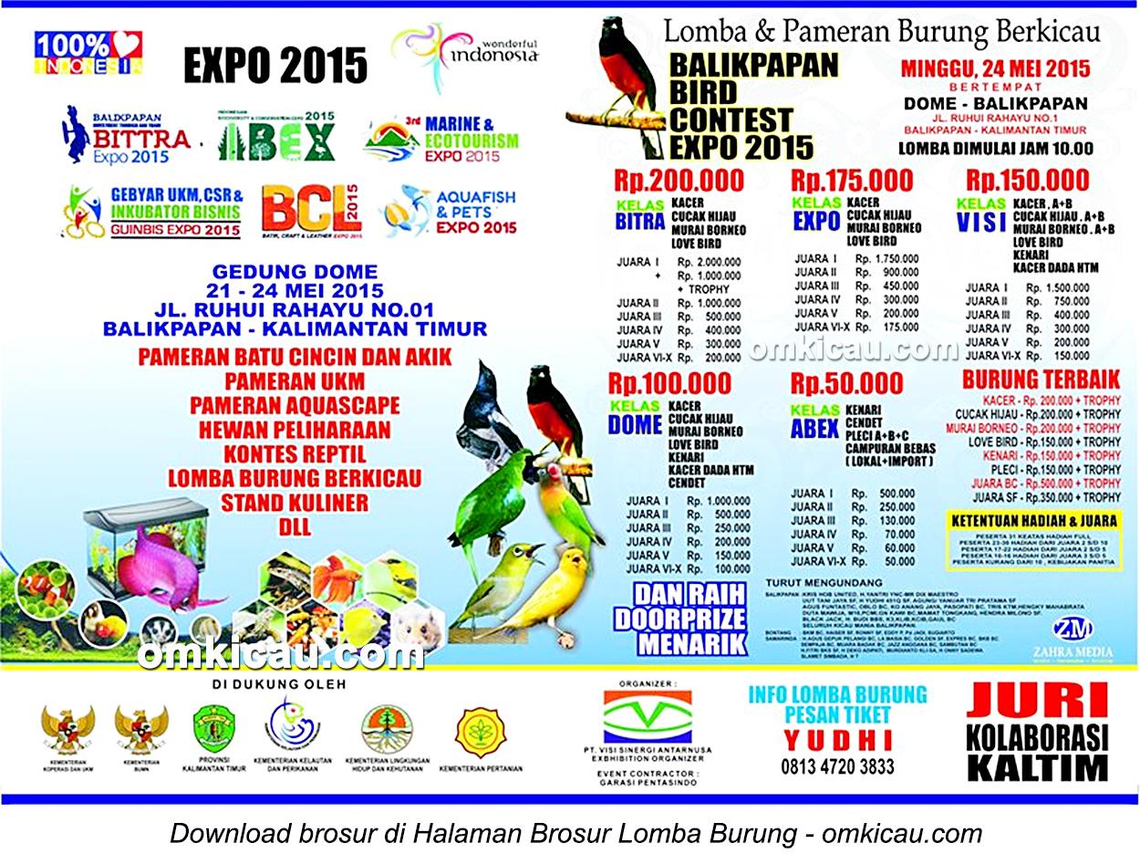 Brosur Lomba Balikpapan Bird Contest Expo, 24 Mei 2015