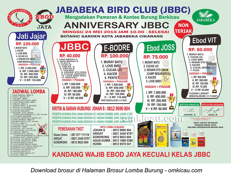 Brosur Lomba Burung Berkicau Anniversary JBBC, Cikarang, 24 Mei 2015