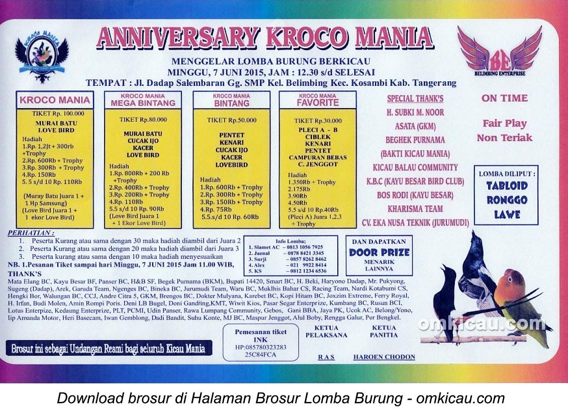 Brosur Lomba Burung Berkicau Anniversary Kroco Mania, Tangerang, 7 Juni 2015