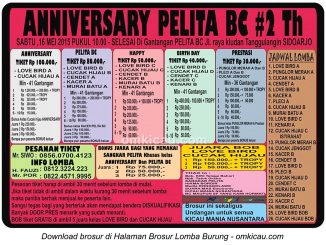 Brosur Lomba Burung Berkicau Anniversary Pelita BC #2Th, Sidoarjo, 16 Mei 2015