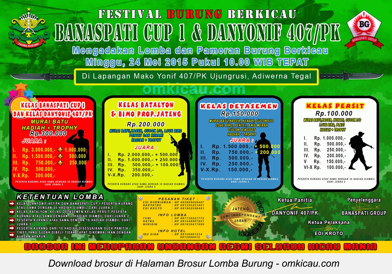 Brosur Lomba Burung Berkicau Banaspati Cup 1 & Danyonif 407-PK, Tegal, 24 Mei 2015